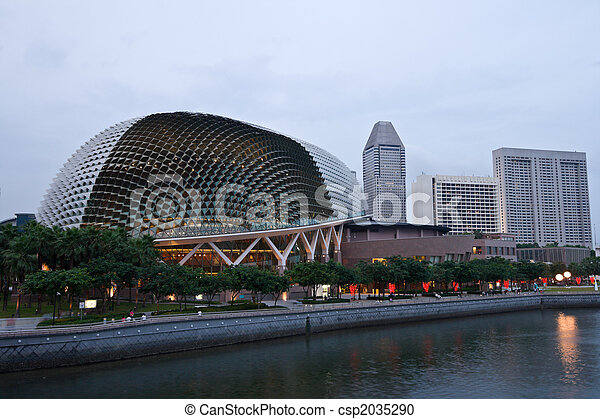 Esplanade (Singapore opera and concert hall at dusk - csp2035290