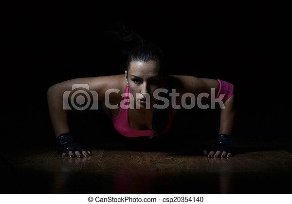 vacker, kvinna,  fitness, arbete, ute - csp20354140