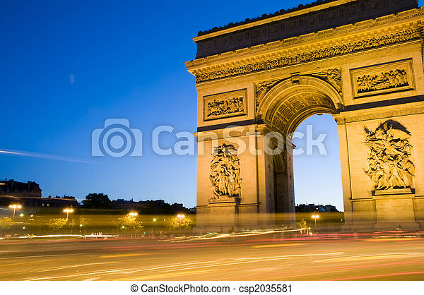 arc de triomphe arch of triumph paris france - csp2035581