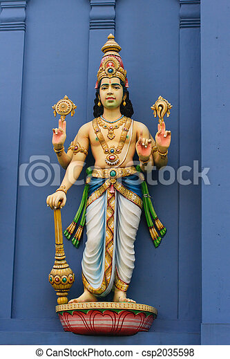 Statue of  Vishnu on Hindu temple - csp2035598
