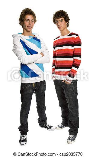 hombres, dos, joven - csp2035770