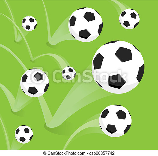 EPS Vector of Group of bouncing soccer balls - Cartoon ...