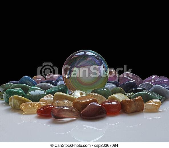 Crystal ball and healing crystals