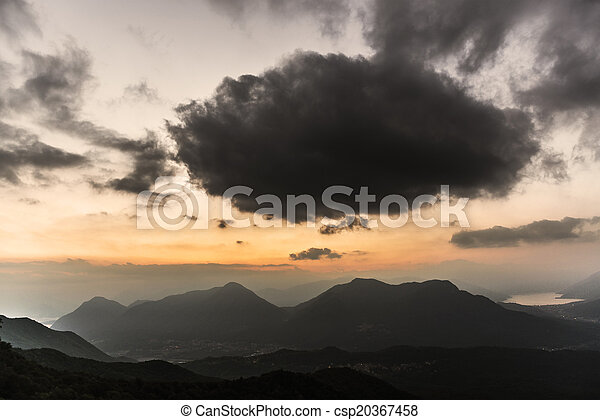 Sunset over the mountains, Varese - csp20367458