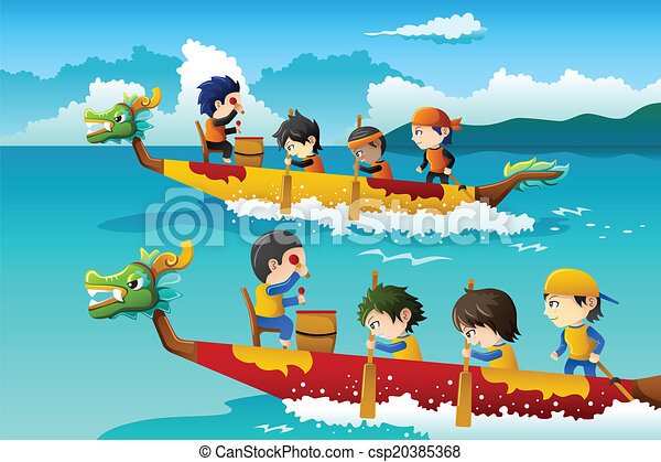 Clip Art Vector of Kids in a boat race - A vector ...
