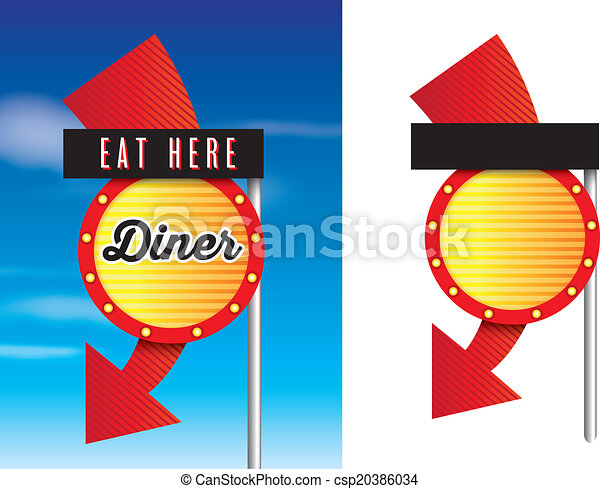 american style retro vintage 1950s diner signs - csp20386034