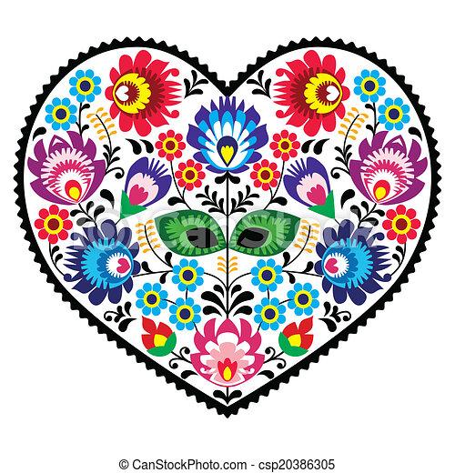 Polish folk art art heart pattern - csp20386305