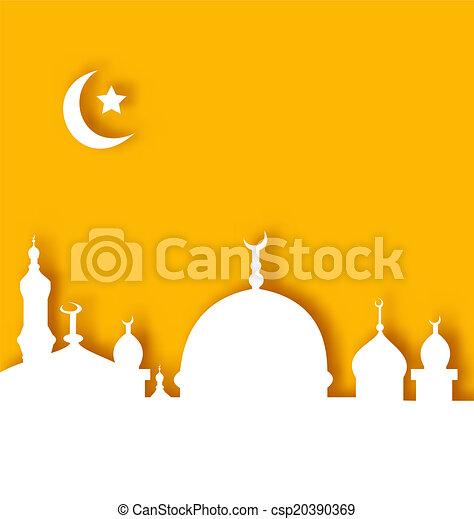 Clip Art Vector of Islamic architecture background, Ramadan Kareem ...