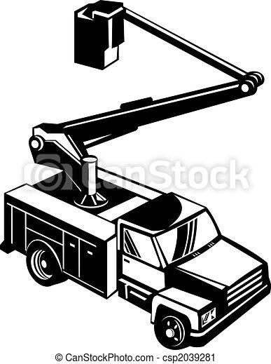 Black bucket truck - csp2039281