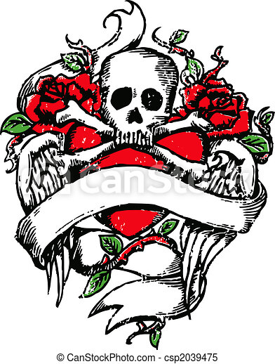 Skull rock tattoo emblem - csp2039475