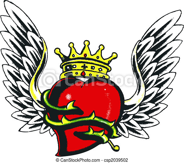 Clip Art of gothic heart and wing csp2039502 - Search ...
