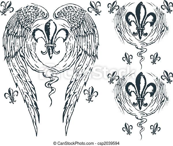 Heraldic wing royalty - csp2039594