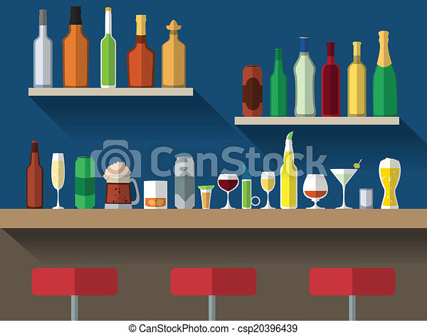 Vectors of Bar counter flat - Bar counter with stools and ...