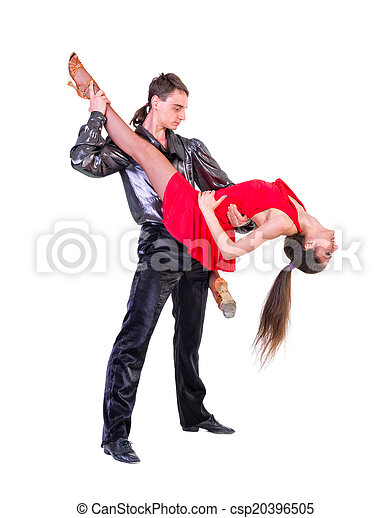 Elegant young couple dancing on white background - csp20396505