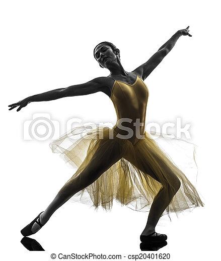 woman  ballerina ballet dancer dancing silhouette - csp20401620