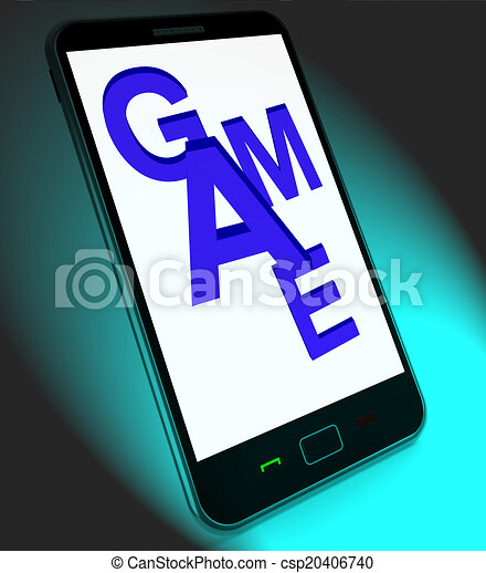 Game On Mobile Shows Online Gaming Or Gambling - csp20406740