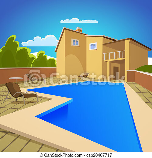 Vector clip art of house with swimming pool illustration for Swimming pool drawing