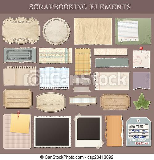 vettore, scrapbooking, elementi - csp20413092