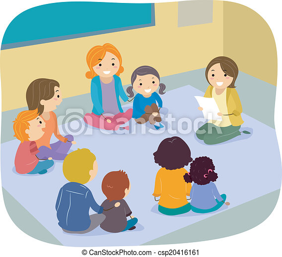 Clip Art Vector of Parents and Children Class Activity ...