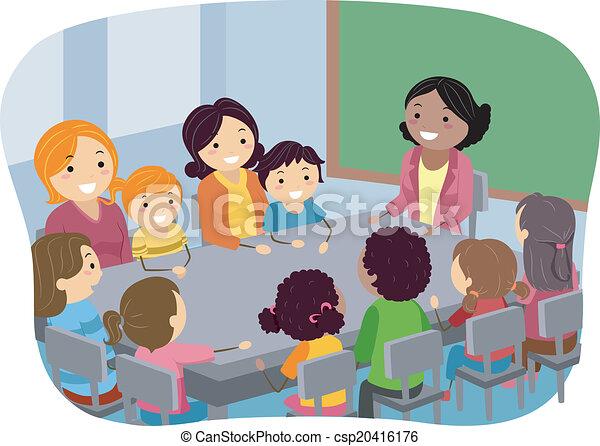 ilustraciones vectoriales de pta reuni n ilustraci n de padres y su ni os. Black Bedroom Furniture Sets. Home Design Ideas
