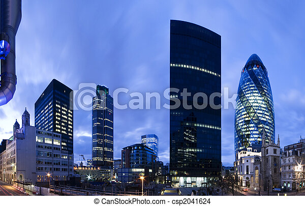 London financial district at twilight. - csp2041624