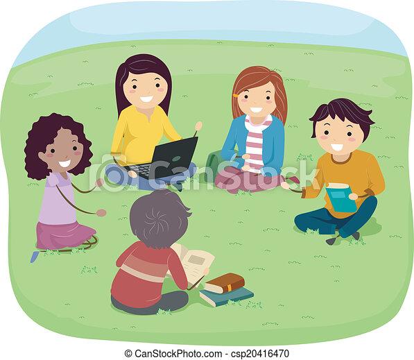 Sujets de discussion de groupe d'adolescent
