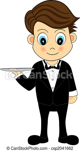 Cute Waiter With A Tray - csp2041662