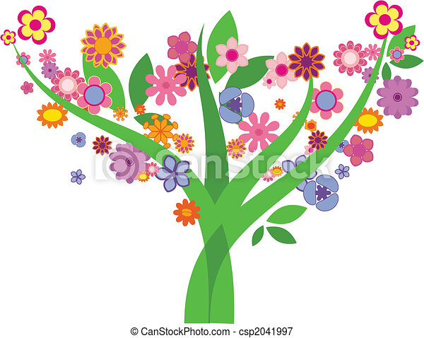 Tree with flowers - Vector image - csp2041997