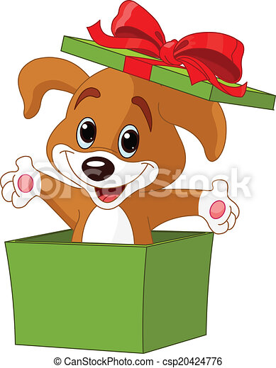 Vectors Illustration of Puppy jumping out from a box ...
