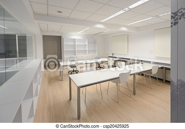 Modern office with white furniture - csp20425925