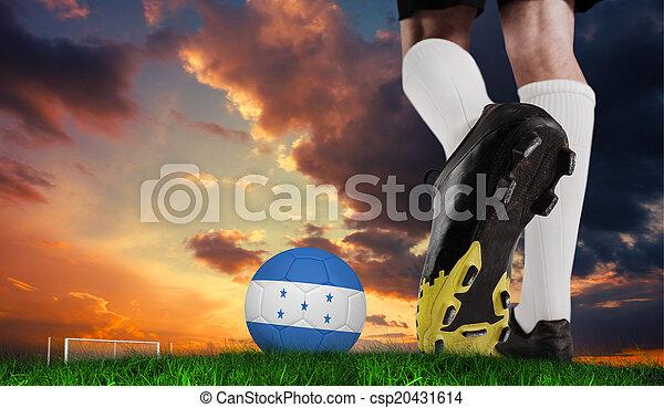 pelota, honduras, imagen compuesta, arranque del fútbol, patear - csp20431614
