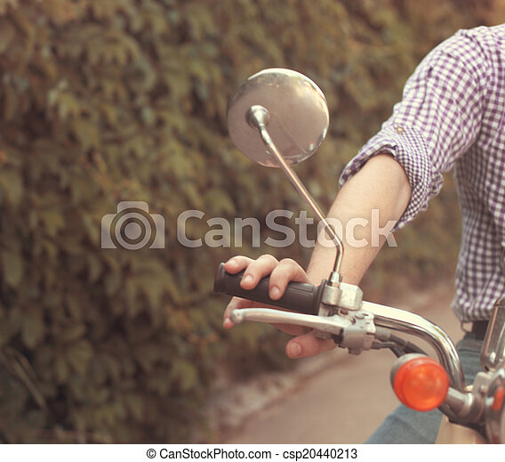 gammal, sparkcykel, ung,  retro, ridande,  man - csp20440213
