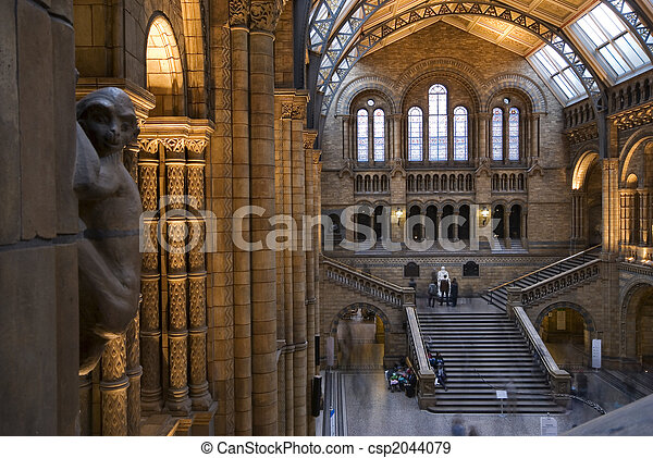 Interior of Natural History Museum, London. - csp2044079