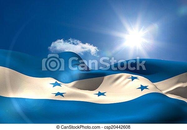 soleado, nacional, cielo, bandera, debajo, hondureño - csp20442608