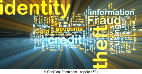 Identity theft wordcloud glowing - csp2044601