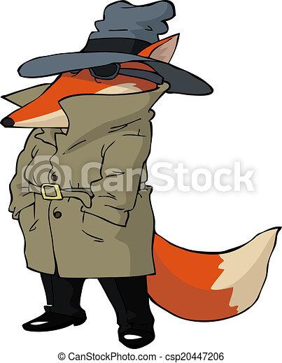 Clipart vecteur de espion renard spy renard blanc - Clipart renard ...