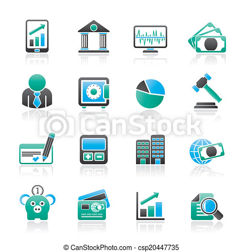 Business, finance and bank icons - csp20447735