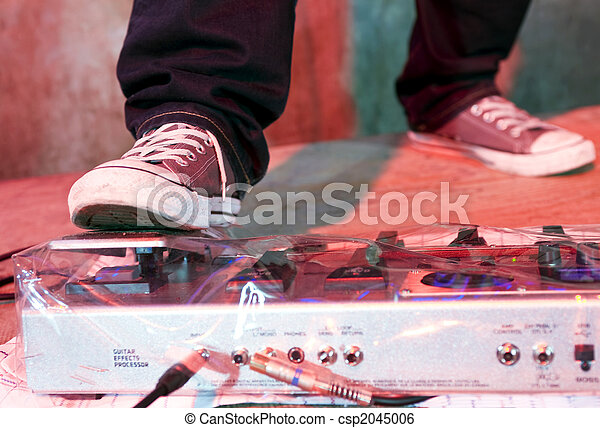 Guitarists' Foot on distortion panel - csp2045006
