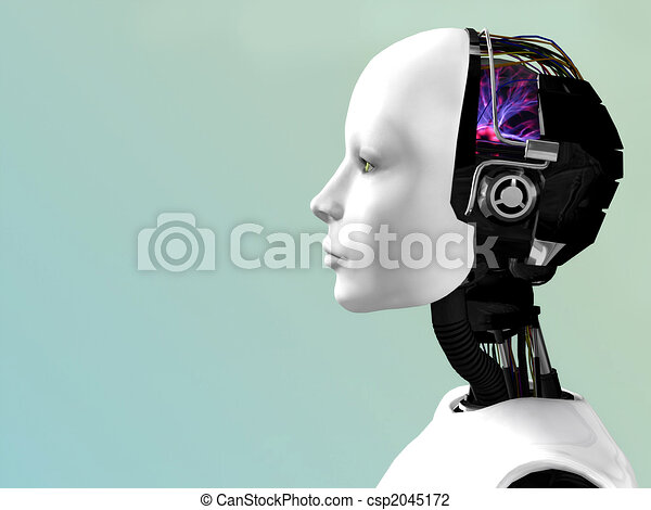 The face of a robot woman. - csp2045172