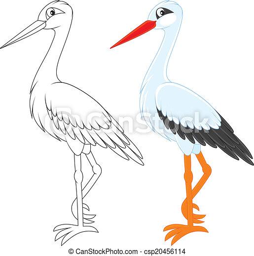 Clip art vecteur de cigogne blanc cigogne couleur et noir et blanc csp20456114 - Cigogne dessin ...