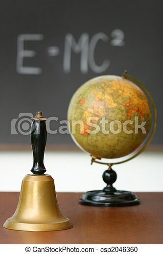 Old school bell on desk - csp2046360