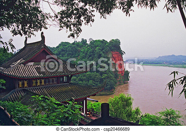 chinese temple overlooking river