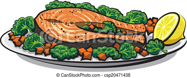Vectors of baked salmon csp20471438 - Search Clip Art ...