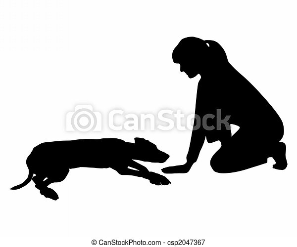 Dog obedience: Command: lay down - csp2047367