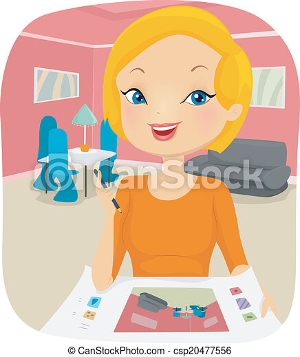 Clipart Vector of Interior Designer - Illustration of a ...