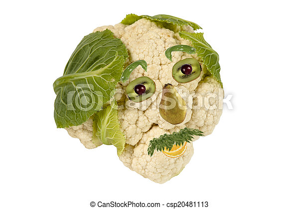 Creative food. Portrait of man made ??of fruits and vegetables - csp20481113