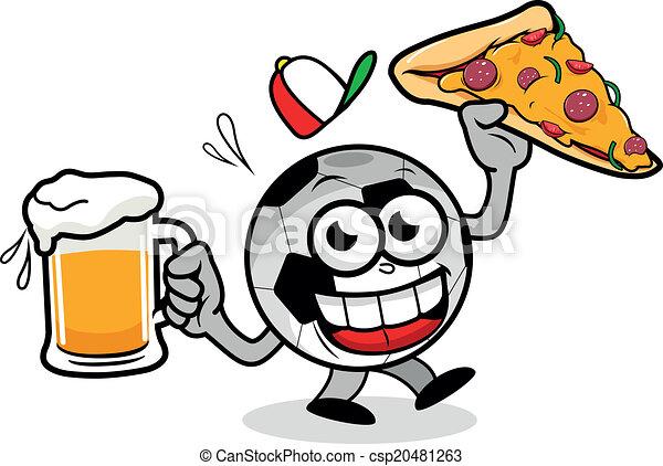 Art Vector of Soccer ball serving beer and pizza - A cartoon football ...