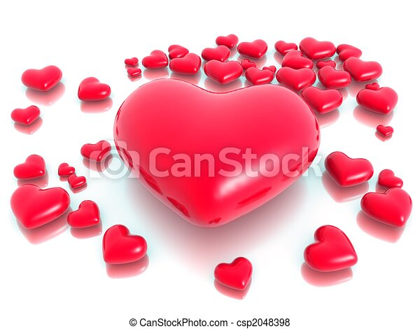 Love and hearts valentine day concept - csp2048398
