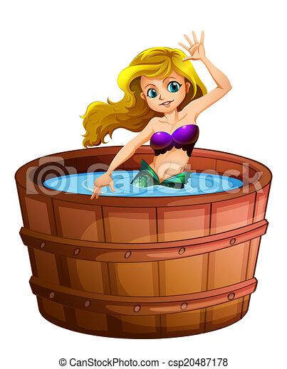 Vektor a nixe nehmen bad badewanne stock - Badewanne nixe ...