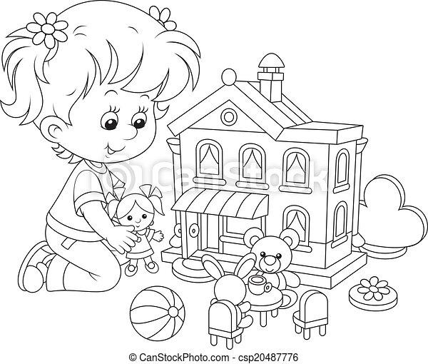 Раскраска домик для кукол